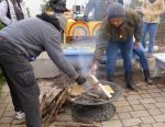 Making a fire to stay warm!